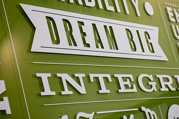 Custome Interior Acrylic Piece with White Vinyl Custom Typographic Layout