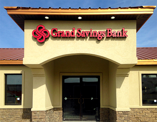 Channel Letters on Grand Savings Bank Exterior
